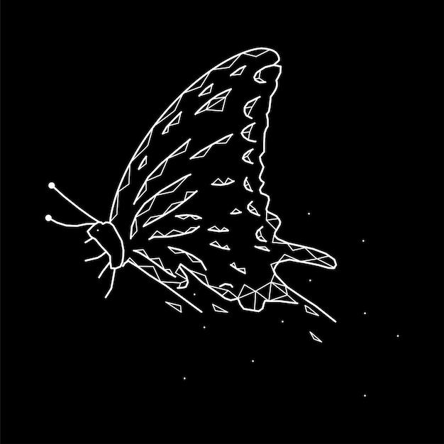 Beau papillon géométrique sur fond noir
