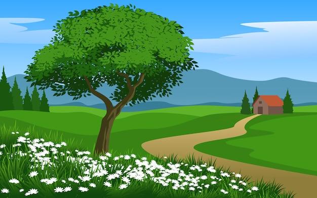 Beau paysage à la campagne avec maison