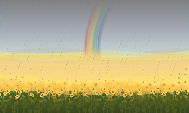 Beau paysage de champ coloré