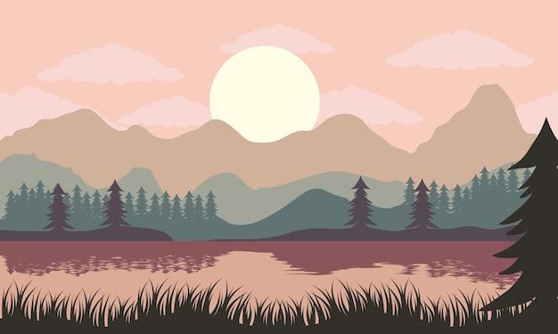 Beau paysage coucher de soleil avec illustration d'arbres lac et pins