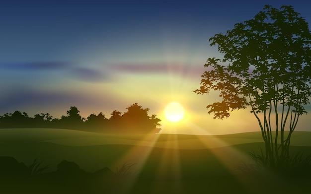Beau paysage de coucher de soleil rural avec la lumière du soleil