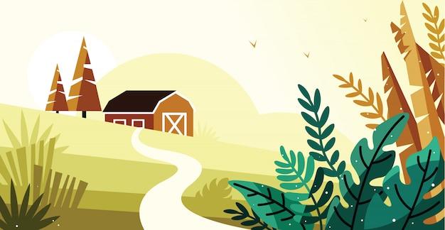 Beau paysage dans l'illustration du village