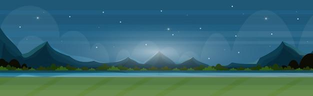 Beau paysage dans la nature nuit rivière montagnes paysage fond été vue panoramique plat horizontal bannière