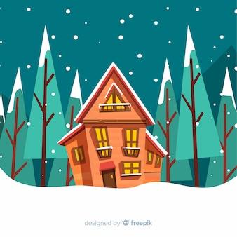 Beau paysage d'hiver avec un design plat