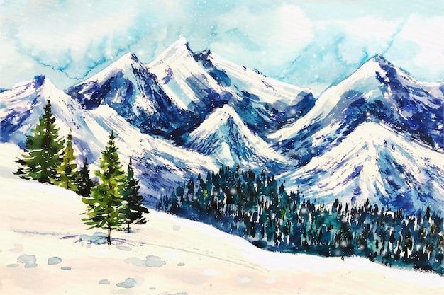 Beau paysage d'hiver en fond aquarelle