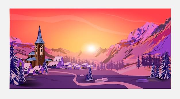 Beau paysage de lever ou coucher de soleil avec ciel orange, forêt, montagnes, ville et grandes épicéas au premier plan. fond de paysage pour vos arts.