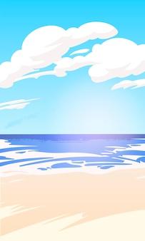 Beau paysage marin vertical avec vue sur la mer un jour d'été, bord de mer avec du sable. illustration vectorielle.
