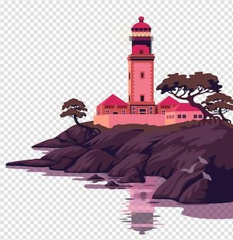 Beau paysage de mer avec un phare sur la falaise