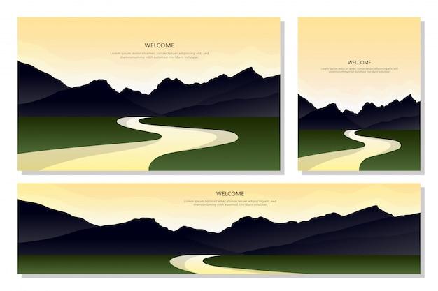 Beau paysage de montagne. ensemble d'illustrations