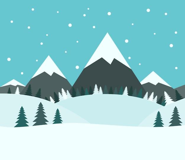 Beau Paysage De Montagne D'hiver Enneigé Avec Des Sapins Et De La Neige Tombant Sur Fond De Ciel Bleu. Illustration Vectorielle Eps 8, Pas De Transparence Vecteur Premium