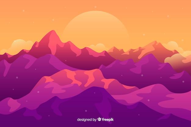 Beau paysage avec des montagnes roses