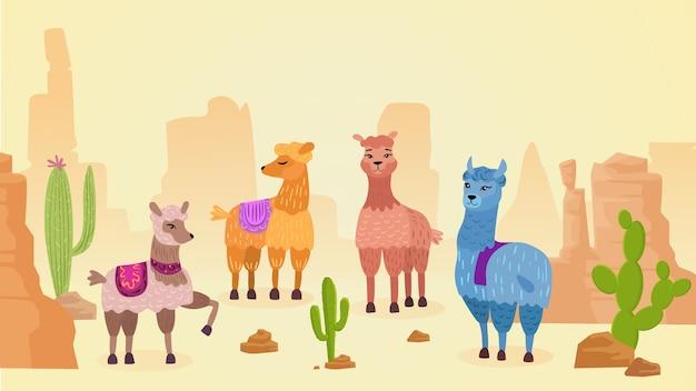 Beau paysage naturel de lamas