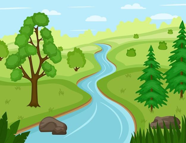 Beau paysage naturel avec rivière, illustration vectorielle