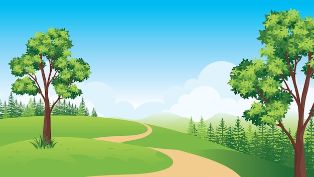 Beau paysage naturel avec route de campagne, paysage d'été avec style plat