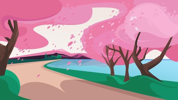 Beau paysage naturel sakura avec des feuilles qui tombent