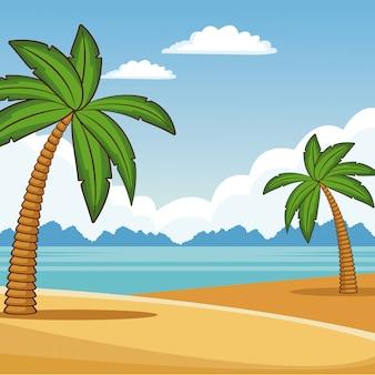 Beau paysage de plage dessins animés colorés