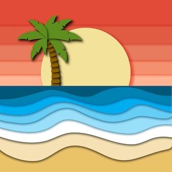 Beau paysage tropical avec ciel rose, coucher de soleil, arbre de plam sur horizon et mer