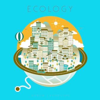 Beau paysage urbain d'écologie dans un style plat