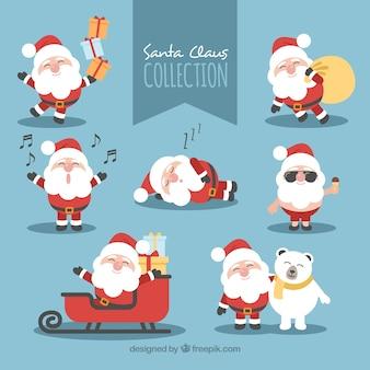 Beau père Noël dans différentes poses