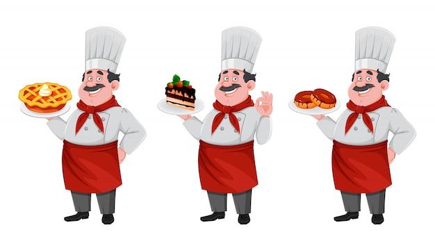 Beau personnage de dessin animé de chef. cuisinier joyeux