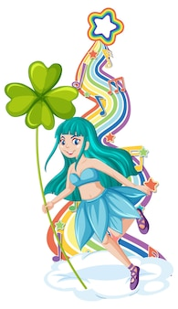 Beau personnage de dessin animé de fée avec vague arc-en-ciel