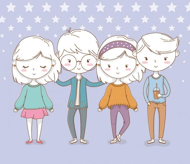 Beau petit groupe d'enfants avec fond pointillé