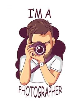 Beau photographe tenant un vecteur de caméra dslr