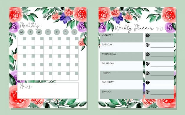 Beau planning mensuel et hebdomadaire avec aquarelle florale