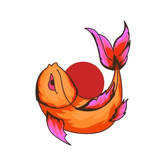 Beau poisson rouge avec illustration vectorielle cercle rouge