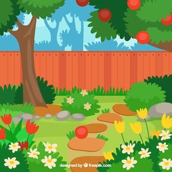Beau pommier plat dans la conception de jardin
