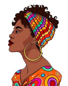 Beau portrait de femme africaine dans des vêtements à motifs tribaux de couleurs vives vector illustration