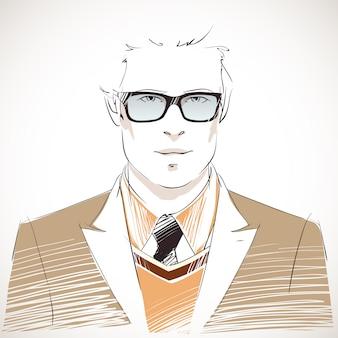 Beau portrait de jeune homme d'affaires