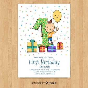 Beau premier modèle de carte d'anniversaire
