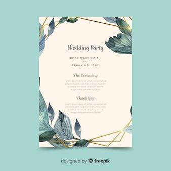 Beau programme de mariage avec des fleurs à l'aquarelle