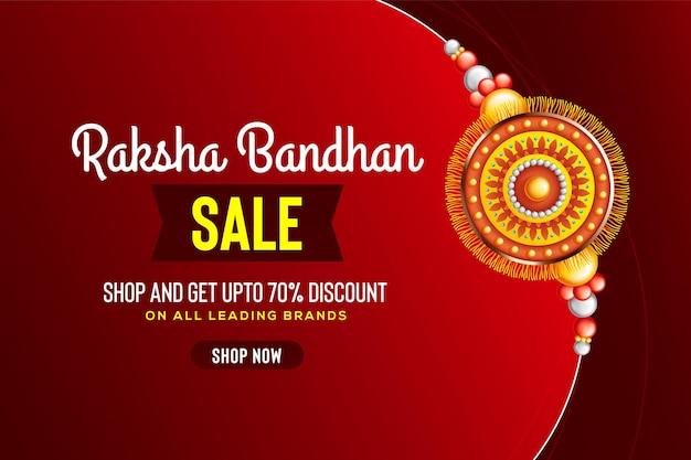 Beau rakhi décoré sur fond rouge pour illustration vectorielle de vente raksha bandhan