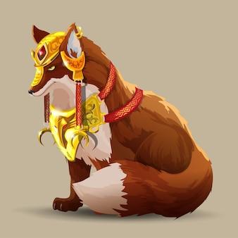 Un beau renard de combat est assis. un renard dans une belle armure dorée. animal fantastique. le renard sage regarde devant lui. personnage de dessin animé isolé.