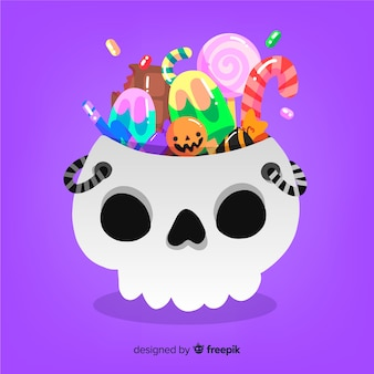 Beau sac de bonbons d'halloween avec un design plat