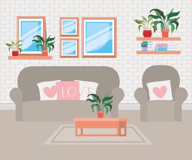 Beau salon scène de maison