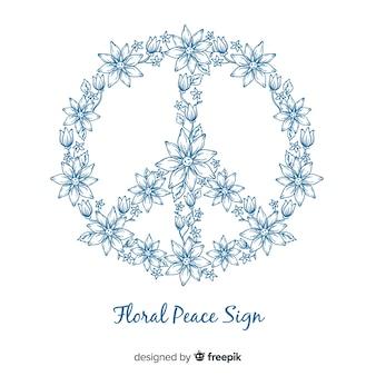 Beau symbole de paix floral