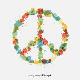 Beau symbole de la paix avec style floral