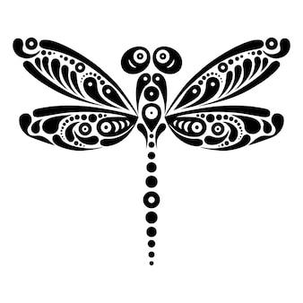 Beau tatouage de libellule. motif artistique en forme de papillon. illustration en noir et blanc
