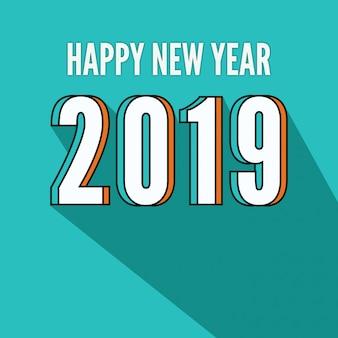 Beau texte design bonne année 2019 avec ombre