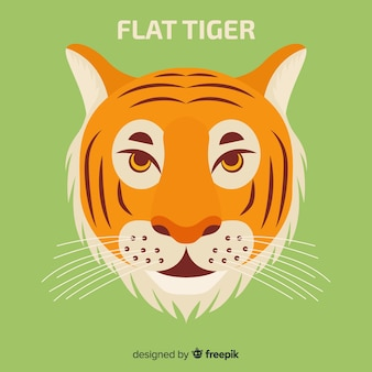Beau tigre avec un design plat