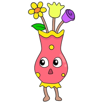Beau vase à fleurs en fleurs pour la décoration, art d'illustration vectorielle. doodle icône image kawaii.