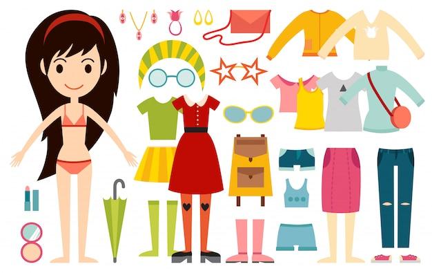 Beau vecteur caricature fashion girl modèle constructeur regarder debout