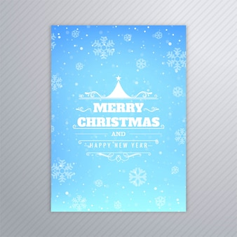 Beau vecteur de conception de brochure carte arbre joyeux noël