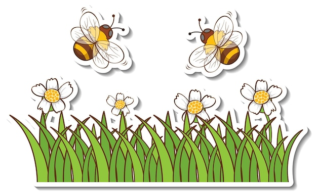 Beaucoup d'abeilles volant au-dessus de l'autocollant de champ d'herbe