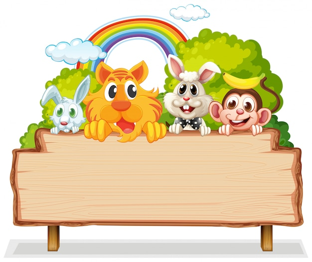 Beaucoup d'animaux sur des planches de bois