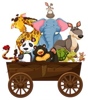Beaucoup d'animaux sauvages sur wagon en bois
