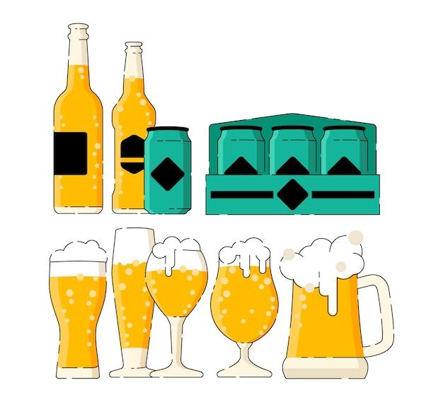 Beaucoup de bières dans les différents verres